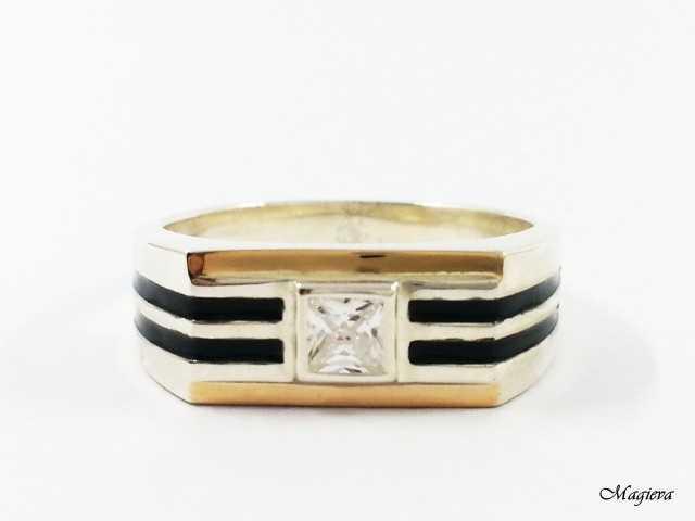 Žiedas su aukso detalėmis ir Cirkoniu SA011