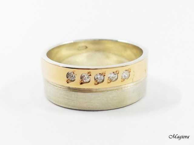 Žiedas su aukso detalėmis ir Cirkoniais SA013