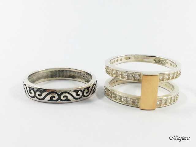 Dvigubas Žiedas su aukso detalėmis ir Cirkoniais SA034